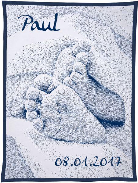 Baby Kuscheldecke mit Namen und Geburtsdatum